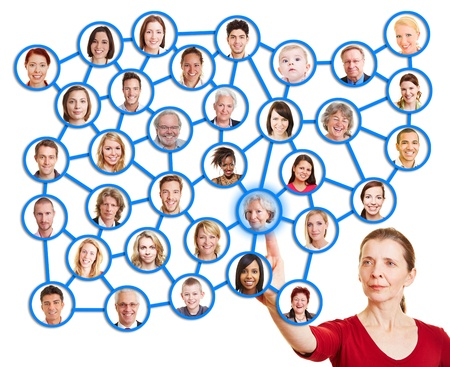 Woman pointing to people in social network and choosing one photo