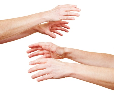 Many hands reaching out in despair to each other Stock Photo - 18127600