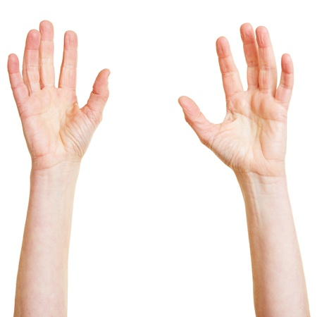 Two hands desperately reaching up into the air Stock Photo - 18208959