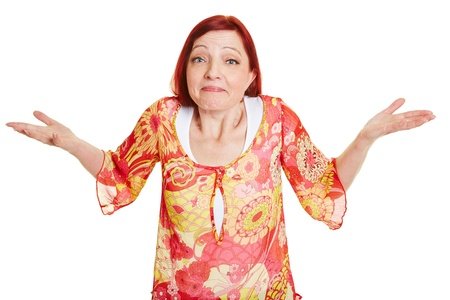 clueless: Clueless elderly woman shrugging with her shoulders