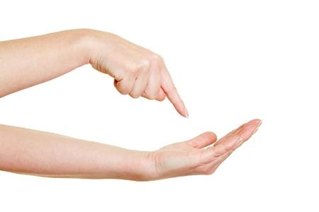 limosna: Señalar con el dedo exigente en la palma de la mano vacía Foto de archivo