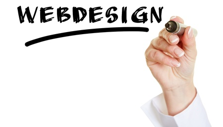 Business hand writing the word Webdesign with a black pen photo