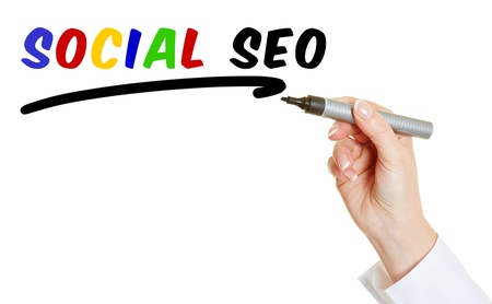 Hand with pen writing Social SEO into the air photo