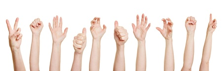 grasp: Many hands making different gestures like fists or thumbs up