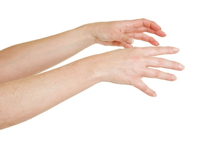 Two female hands reaching out to the right Stock Photo - 18963862