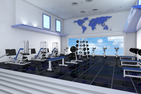 Modern empty fitness center in a health club photo