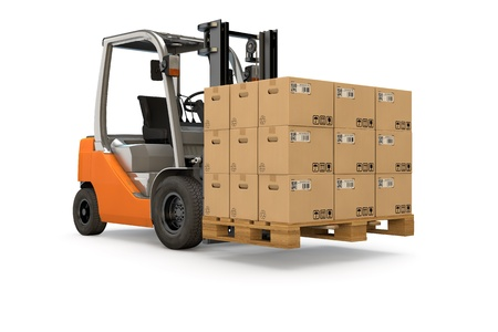 Forklift lifting a pallet of many packages photo