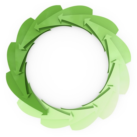 Many green arrows rotate as a recycling symbol photo