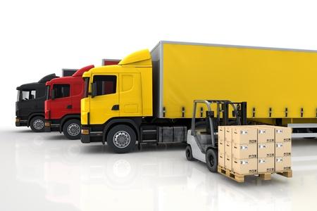 Camiones de transporte en compañía de entrega de la carga con la carretilla elevadora con paquetes