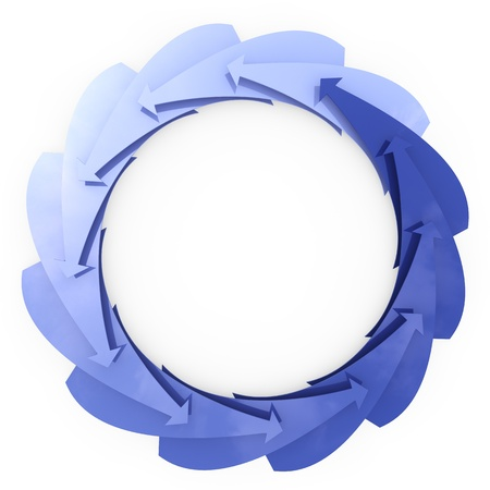 infinitely: Many blue arrows turning in a circle