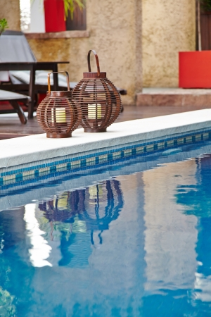 Pool with blue water in an exotic  luxury hotel Stock Photo - 20277895