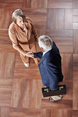 Two elderly business people giving handshake in a hotel photo