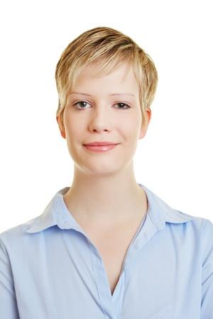 foto carnet: Headshot de una atractiva joven rubia sonriendo