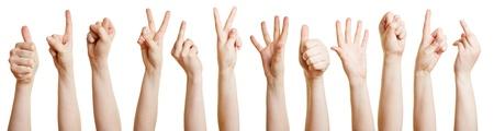 Vele handen waaruit verschillende gebaren met de vingers Stockfoto