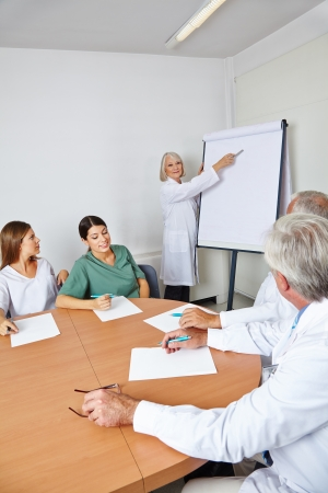 explain: Doctor giving lecture at team meeting in a hospital room