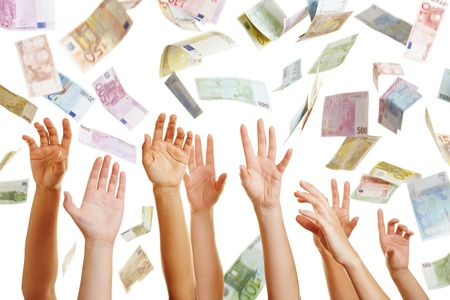 Many hands reaching for Euro money flying in the air photo
