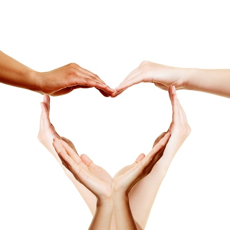 Many hands forming a big love heart photo