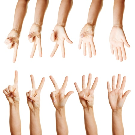 ring finger: Many different hands counting from one to five with their fingers Stock Photo