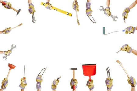 Frame with many hands holding different work tools for construction and repairing Stock Photo - 21695856