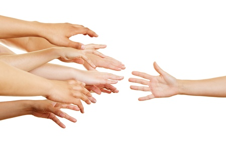 reaching hand: Many desperate arms reaching for a helping hand