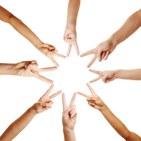 many hands: Many hands forming a star shape with their fingers Stock Photo