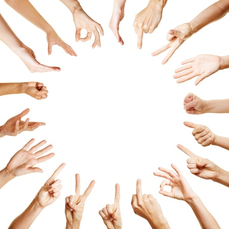 hand gestures: Background of many hands forming a circle with different gestures