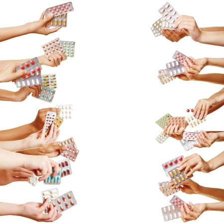 both sides: Many hands holding different drugs and pills from both sides Stock Photo