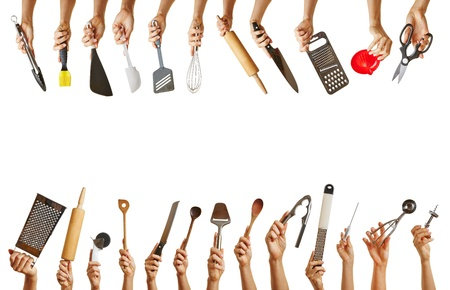 kitchen tools: Frame with many hands holding different kitchen tools like knife, scissors and spoon