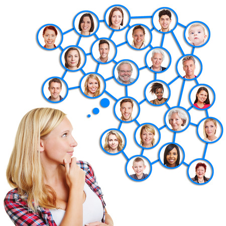 networked: Young blond woman thinking of her social network of family and friends
