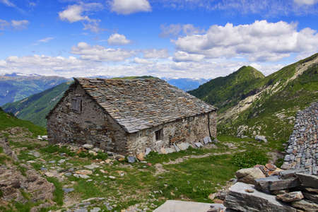 refuge: Old mountain cabin in the Italian Alps near the Alpe Scaredi in Vale Grande