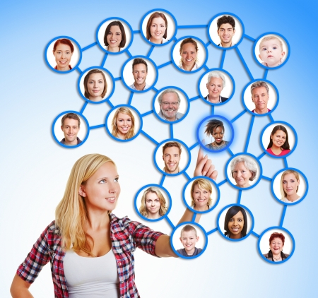 kinship: Woman selecting friends and family in social network with her finger