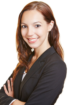 Head shot of a young smiling business woman photo