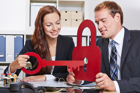 Data security in the business office with key and lock as a symbol photo