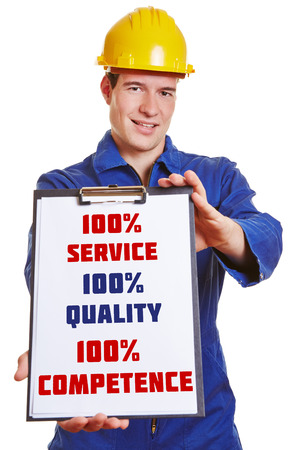 Construction worker making advertising with clipboard for 100% service 100% quality and 100% competence