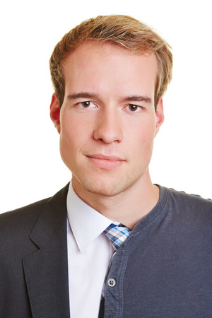 Young business man half with suit and tie and half with casual clothing