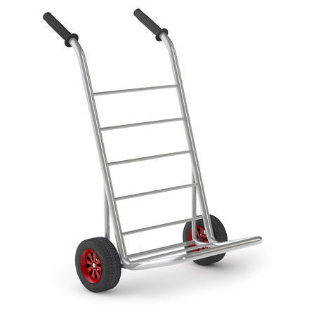 sack truck: Empty metal hand truck or sack barrow isolated on white