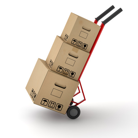 moving company: Three moving boxes on hand truck dolly for moving company