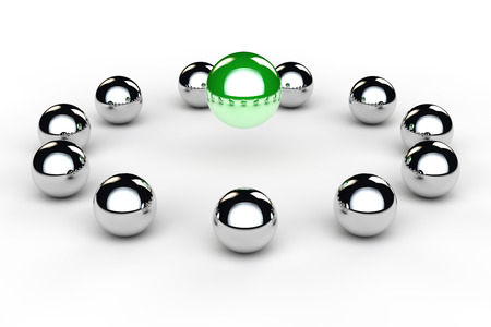 supervisión: Muchas bolas de metal en un círculo como concepto conferencia del equipo
