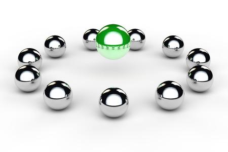 Veel metalen ballen in een cirkel als team conferentie begrip Stockfoto