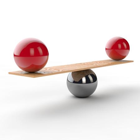 Evenwicht en balans op met twee rode ballen op een wip