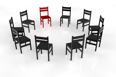 round chairs: Circletime with chairs in a circle for a psychotherapy Stock Photo