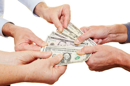 lend a hand: Many hands of senior people holding dollar money bills