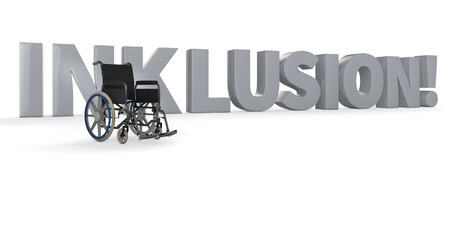inclusion: Wheelchair in front of the german word Inklusion! (inclusion)