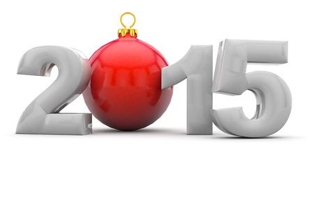 Christmas 2015 text with christmas tree ball as a Zero photo