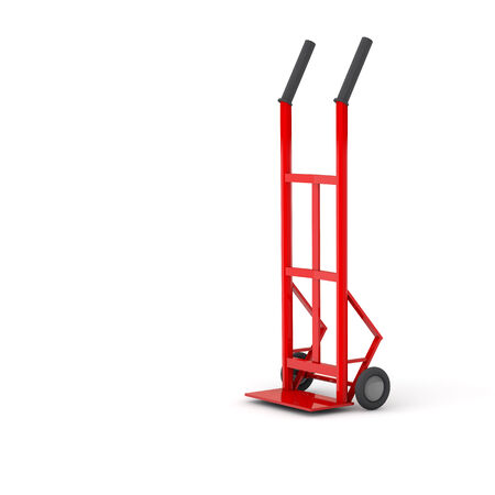 sack truck: Red empty sack barrow or hand truck dolly on white background