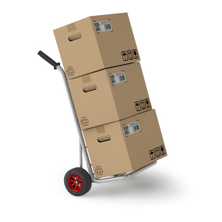 forwarding agency: Three shipping boxes on hand truck of a parcel service Stock Photo