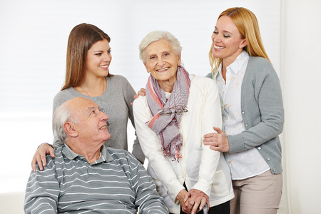 grandkids: Home nursing for senior citizen couple with caregiver at home