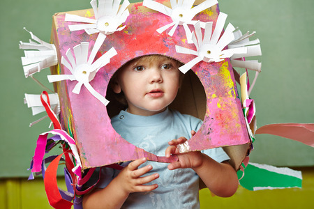 theatre costumes: Boy with his DIY costume for carnvial in a kindergarten Stock Photo
