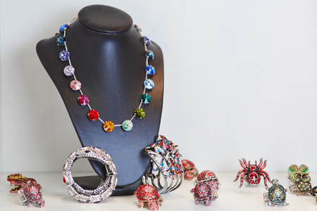 Colorful necklace for display in a jewelry store photo