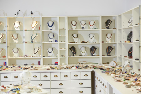 jeweler: Interior presentation of jewelry in a jeweler store Stock Photo